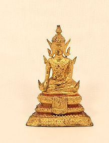 Rattanakosin 19thc gilt bronze seated Buddha v8