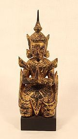 Thailand 19th c wood lacquer and gilt figure  kneeling attendant v5