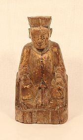 Ming Dynasty wood ancestor carving of a seated gentleman v7