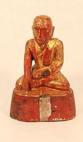 Antique Burmese Shan seated Buddha in wood and red lacquer