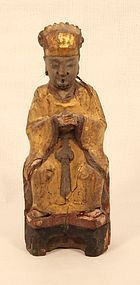 Ming Dynasty Gilt wood statue of a seated deity
