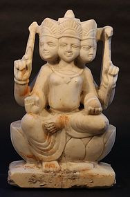Hindu Temple statue of Brahma in white marble 18-19thc
