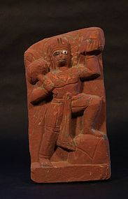 19th c Hindu red sandstone sculpture of Hanuman