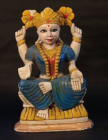 Late 19thc Hindu painted soapstone Deity of a sun Goddess v9