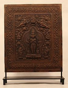 Tibetan Buddhist repousse copper mandella of Avalokiteswara