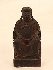 Chinese 19thc carved wood Buddhist house God sculpture v7