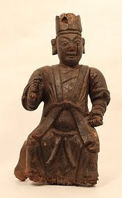 Ming - Qing Dynasty wood temple figure v9