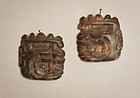 Pre Columbian Chavin Cupisnique Maranon pair sodalite ear pendants