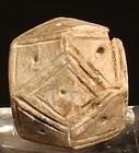 Pre Columbian Valdivian geometric seatite carved bead