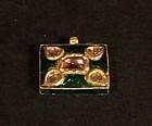 Kundan Diamond and green enamel pendant in 20k gold v7