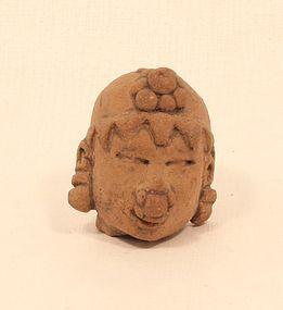 Jama-Coaque Pre Columbian terracotta head