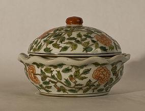 Antique Chinese enamel decorated porcelain  lidded dish