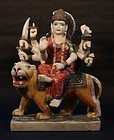19thc Hindu marble temple sculpture of Durga riding her Lion