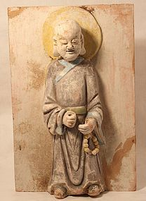 Chinese pottery Tomb tile of a sage probably Jin Dynasty