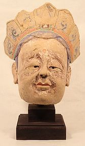 Sung-Ming Dynasty Stucco Guanyin head from a life size Temple statue