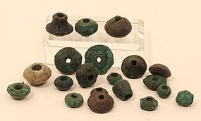 Peruvian Pre Columbian Moche lost wax cast copper beads