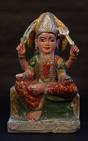 18th C Hindu marble deity figure possibly Devi