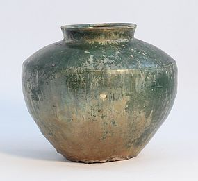 Chinese Han Dynasty  206 BC to 220 AD  pottery jar in Green glaze