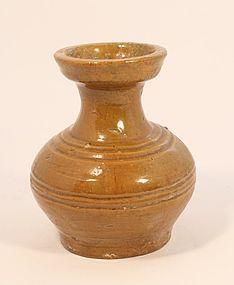Han Dynasty  Hu Jar with Amber Glaze circa 206 B.C. - A.D. 220