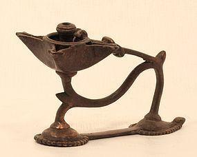 Antique Orissa Region Hindu lost wax bronze hand held oil lamp