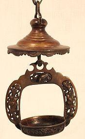 Meiji Japanese bronze hanging oil lamps matching pair