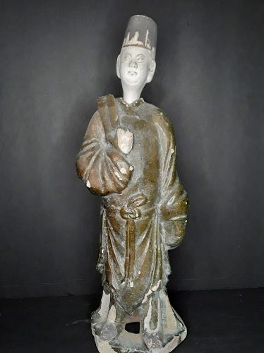 Chinese Ming Dynasty Green glazed Tomb Figure of an Attendant