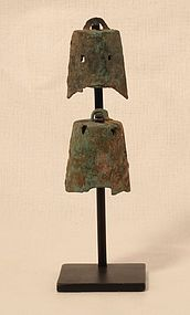China 206BC -220 AD Han bronze bells on a custom black iron stand