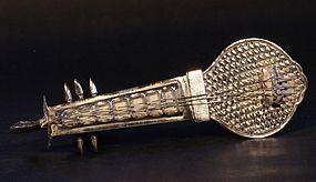 Silver Sitar shaped perfume box