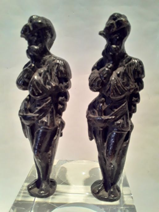 Pair of 16th c  English  brass finial  figures