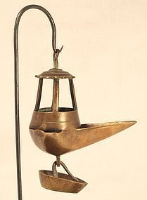 18thc Greek brass Olive oil hanging lamp