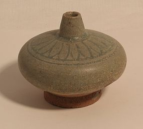 Song Dynasty Longquan glazed spouted jarlett with incised flower