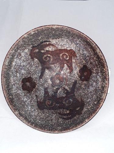 Vintage Chinese Brown glazed Paper -Cut design tea bowl
