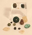 Peruvian Pre Columbian Moche group bead lot shell jade copper