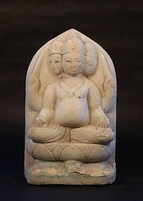 Antique 19thc Hindu white marble figure of Brahma
