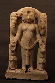 16-18thc Hindu white marble Temple figure of Lakshmi