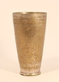 Antique Indian Tinned Bronze tall lassi cup