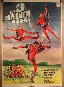 los 3 supermanes en la selva Vintage Mexican Super Hero Movie