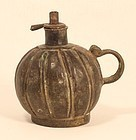 Antique Orissa village lost wax cast ball shaped oil lamp