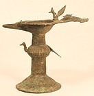 19th c lost was bronze oil lamp from Orissa