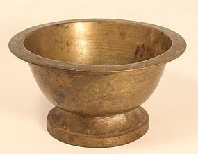 19thc Indian bronze footed cooking bowl