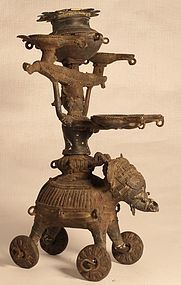 19thc Orissa lost wax oil lamp figure of an Elephant and Rider