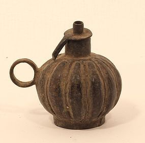 Antique Orissa village lost wax cast ball shaped oil lamp, mid 19th c