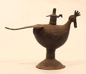 India 19th c Orissa lost wax cast bronze peacock oil lamp