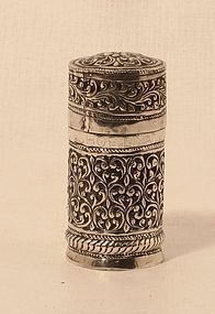 Silver Carved and chased silver herb container with floral designs