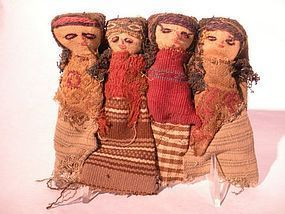 4 figure group of Peruvian Pre Columbian Textile dolls