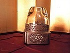 Chinese silver metal opium lamp crack in glass but stable
