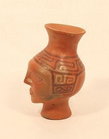 Pre Columbian Tiahuanaco style Terracotta face pot