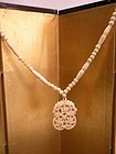 Antique  Chinese carved OX Bone Necklace with beads and Pendant