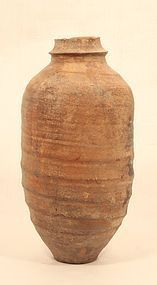 Ancient Song Chinese Terracotta ribbed bodied wine jar