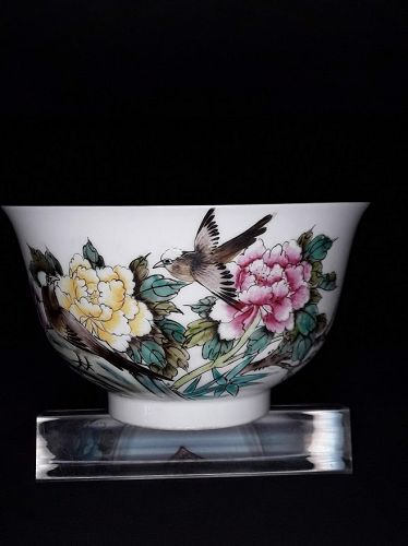 Chinese Republic Period floral painted Tea Bowl with Poem